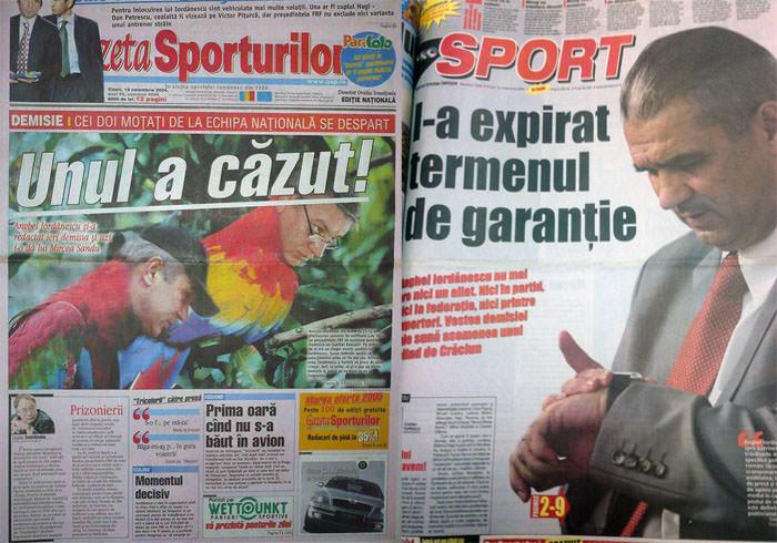 Coperta ziarelor de sport in ziua plecarii lui Iordanescu