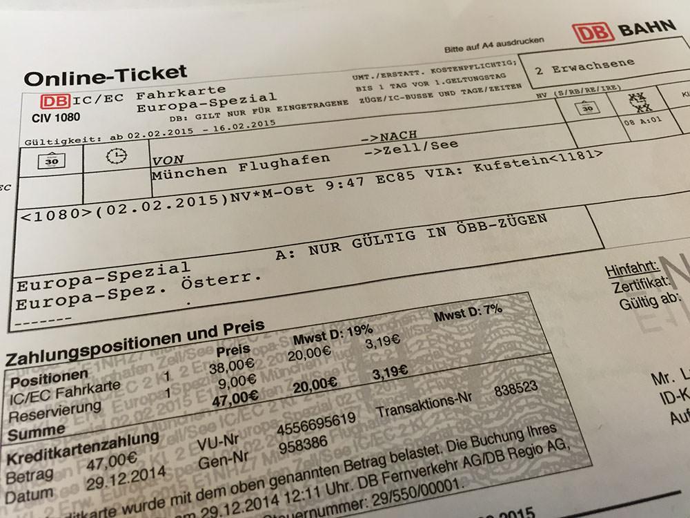 """Biletul de tren pentru două persoane de la Aeroportul din Munchen la Zell am See, cu două """"escale"""". La Kaprun nu este gară, se ajunge cu taxi, autobuz sau shuttle de la hotel"""