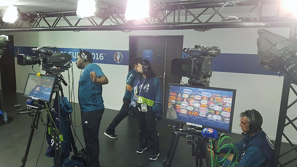 Zona de flash interviu la stadionul din Lyon